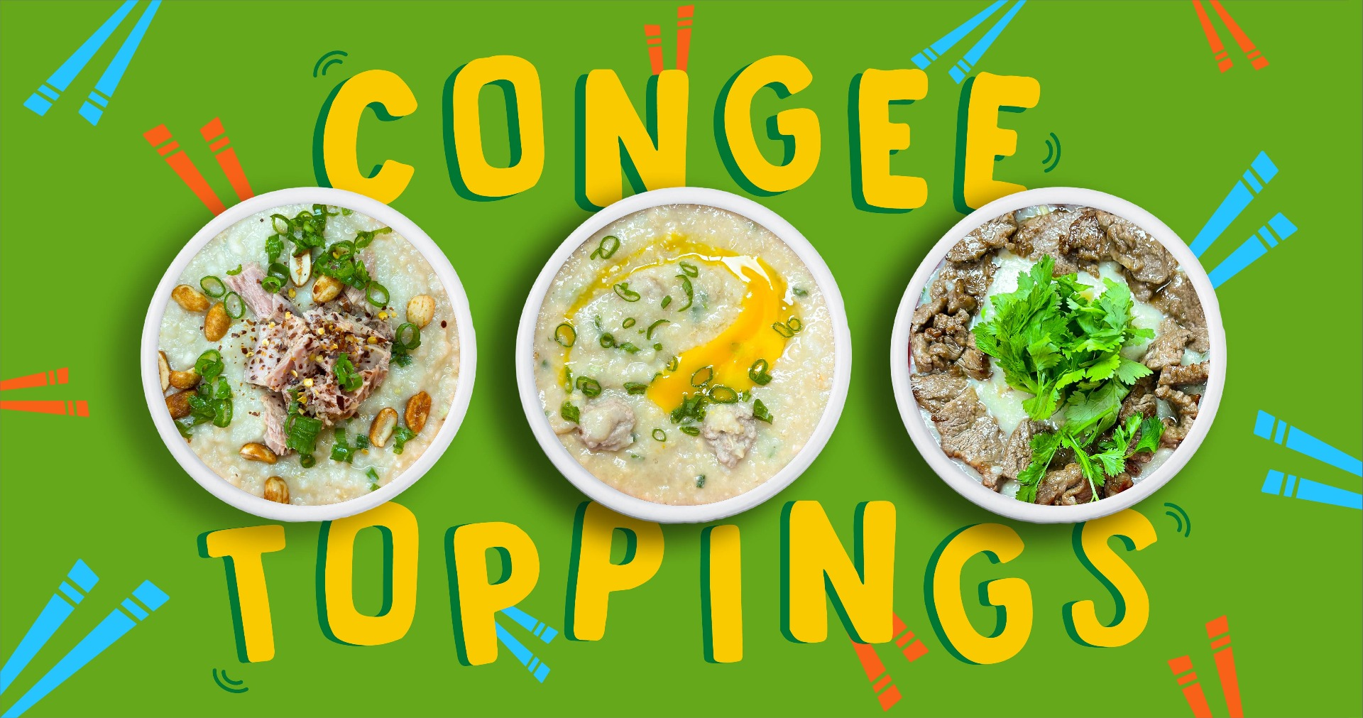 Three bowls of congee topped with tuna, thai meatballs and beef