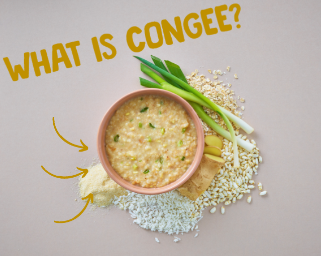 Warm bowl of comforting congee, a traditional savoury rice porridge with spring onions, grains and chicken