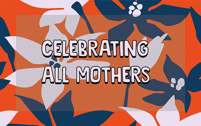 Celebrating all mothers banner on background of flowers