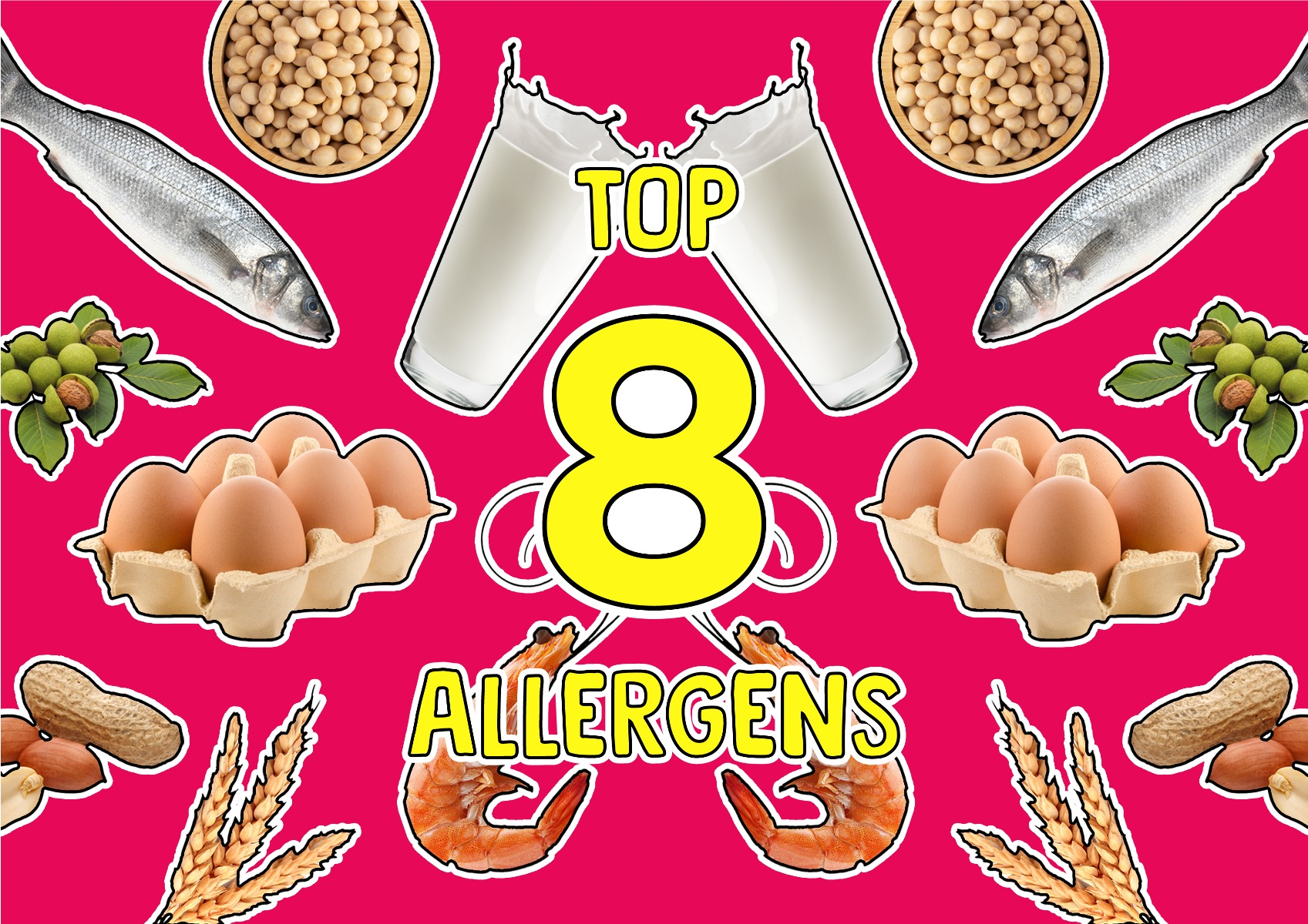 Top 8 food allergens airy, soy, egg, wheat, peanut, tree nuts, fish and shellfish on a pink background